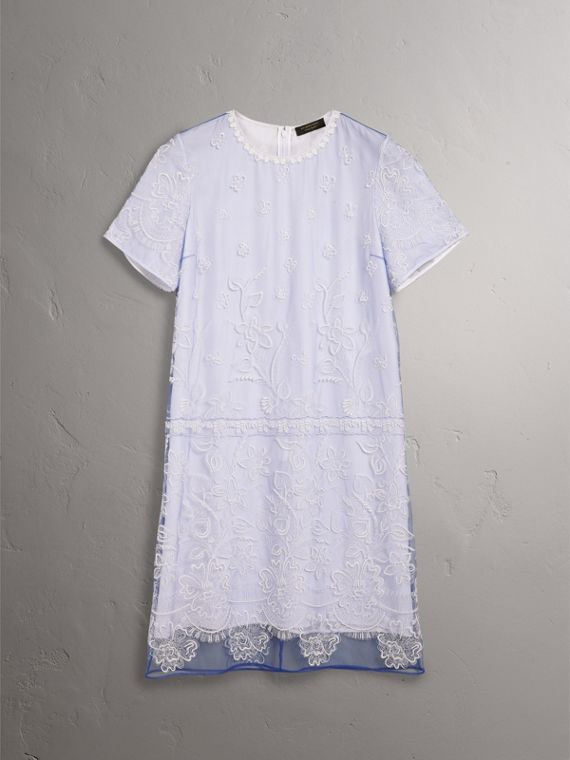 Floral-embroidered Tulle T-shirt Dress in Hydrangea Blue/white - Women | Burberry - cell image 3