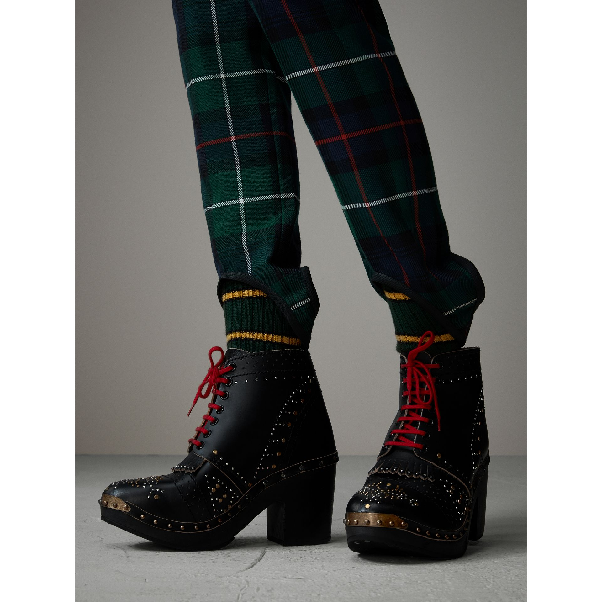 Tartan Wool High-waisted Stirrup Trousers in Forest Green - Women | Burberry United Kingdom - gallery image 1