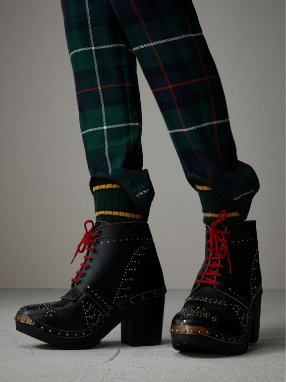 Tartan Wool High-waisted Stirrup Trousers in Forest Green - Women | Burberry - cell image 1