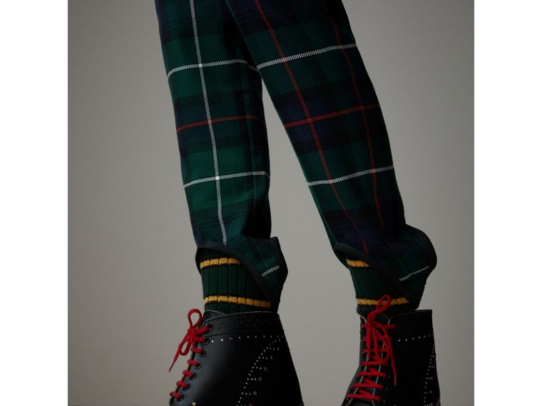 Tartan Wool High-waisted Stirrup Trousers in Forest Green - Women | Burberry Singapore - cell image 1