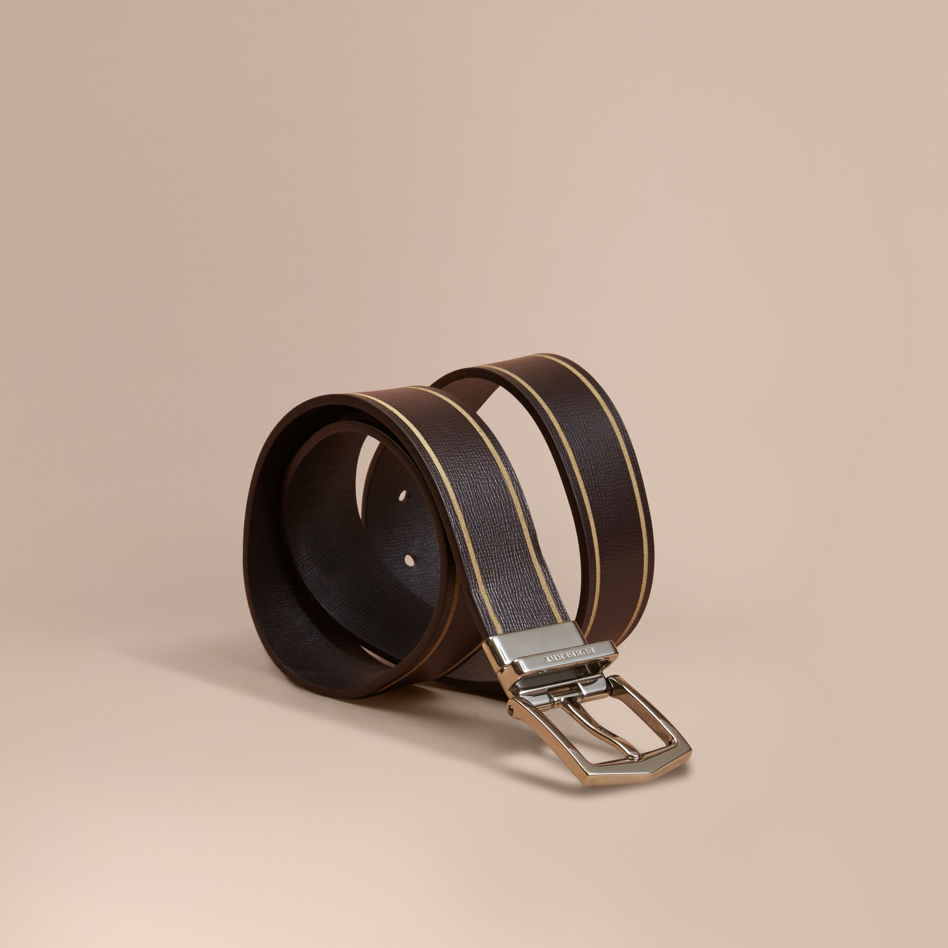 Reversible Border Detail London Leather Belt Peppercorn/black - gallery image 1