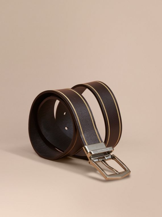 Reversible Border Detail London Leather Belt Peppercorn/black