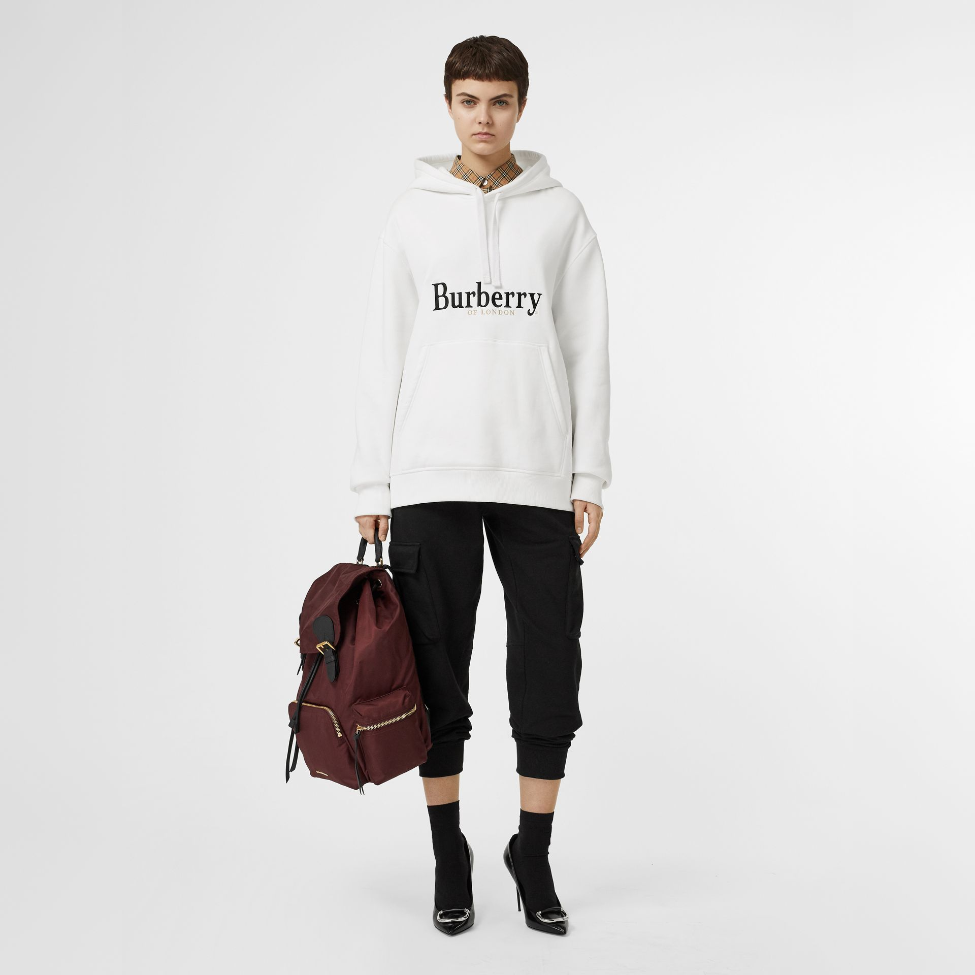 Embroidered Logo Jersey Hoodie in White - Women | Burberry - gallery image 0
