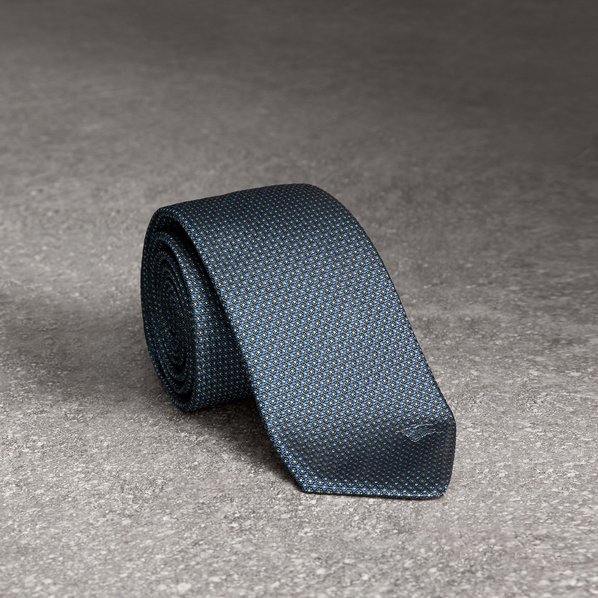 Modern Cut Patterned Silk Tie in Light Blue - Men | Burberry United Kingdom - gallery image 0
