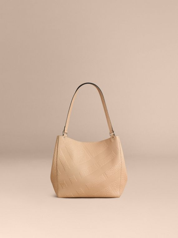 Pale apricot The Small Canter in Embossed Check Leather Pale Apricot - cell image 3