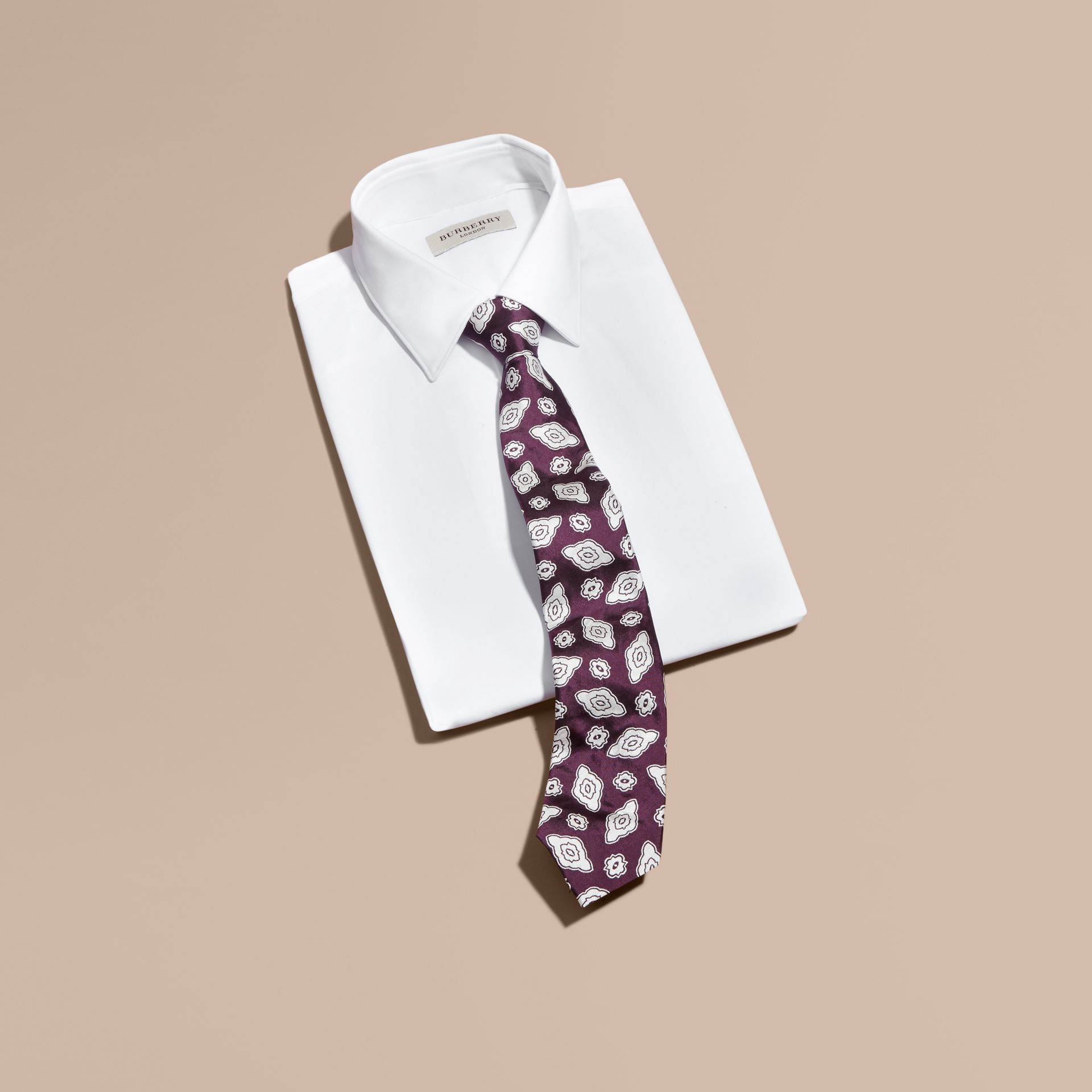 Purple black Modern Cut Silk Geometric Jacquard Tie Purple Black - gallery image 3