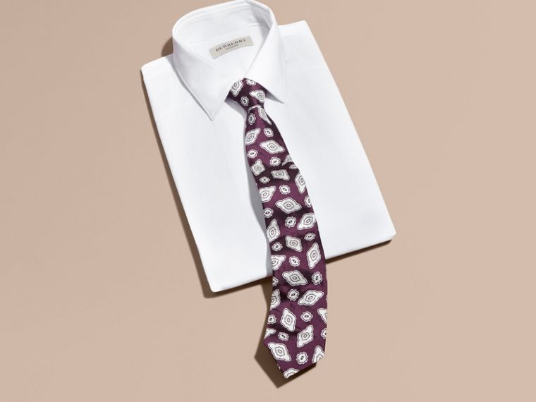 Purple black Modern Cut Silk Geometric Jacquard Tie Purple Black - cell image 2