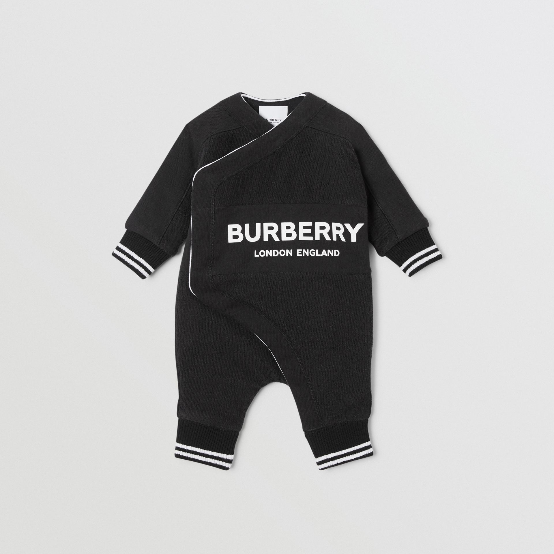 Logo Print Quilted Cotton Jumpsuit in Black - Children | Burberry United Kingdom - gallery image 0