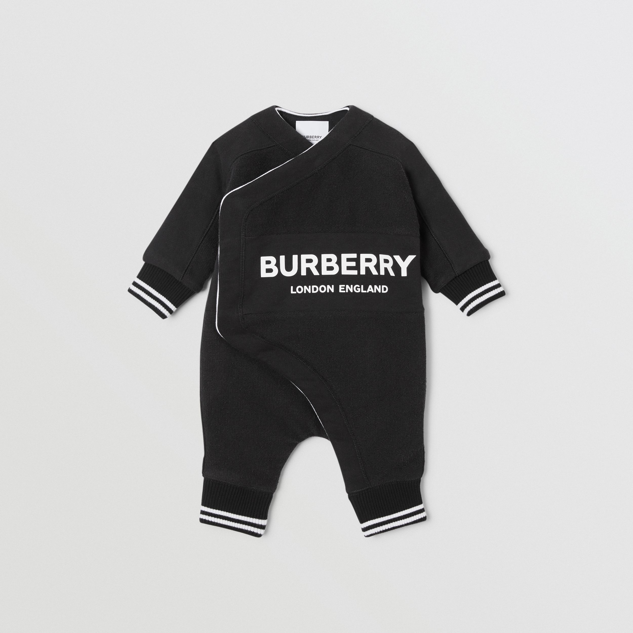 Logo Print Quilted Cotton Jumpsuit in Black - Children | Burberry - 1
