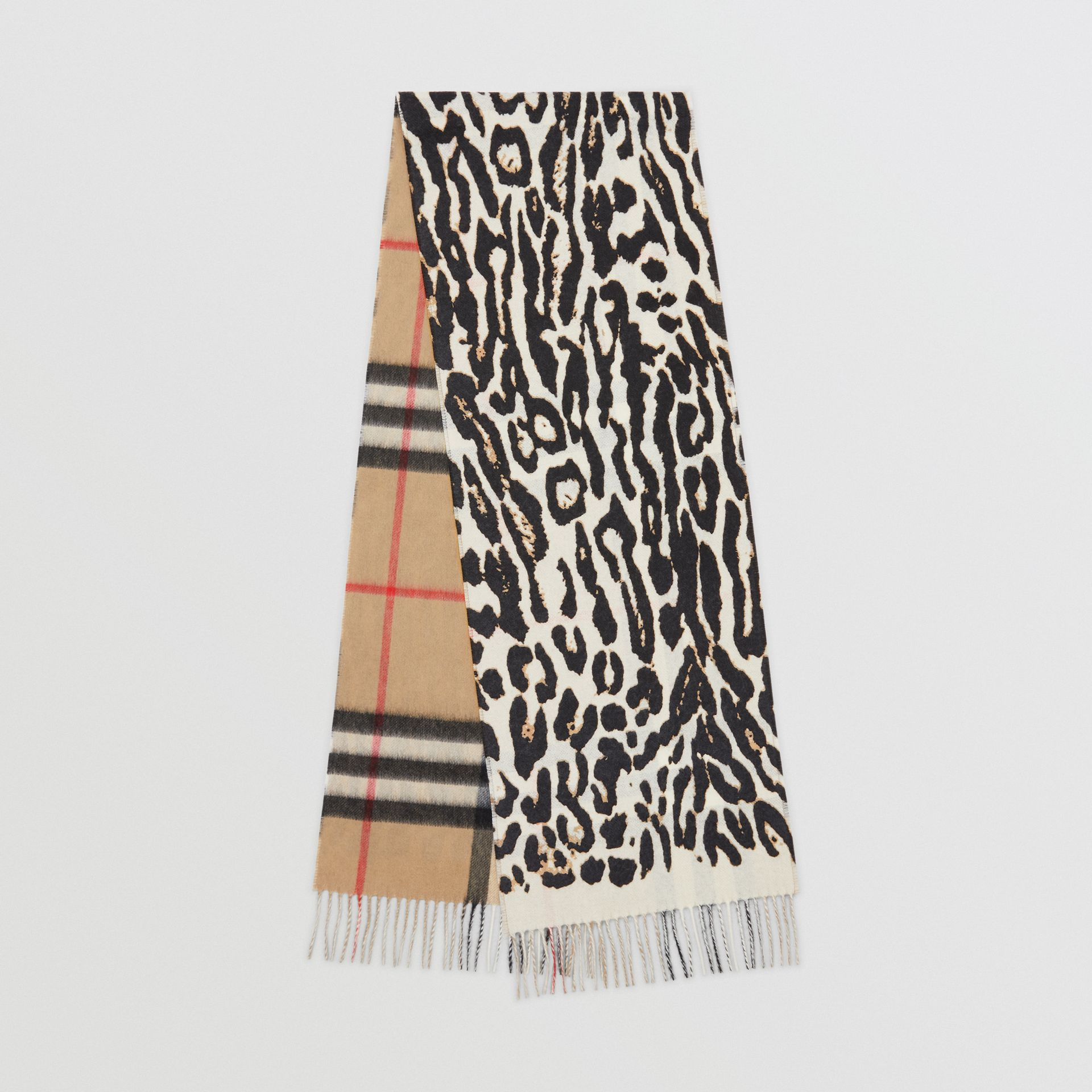 Leopard Print and Check Cashmere Scarf in Black | Burberry United Kingdom - gallery image 0