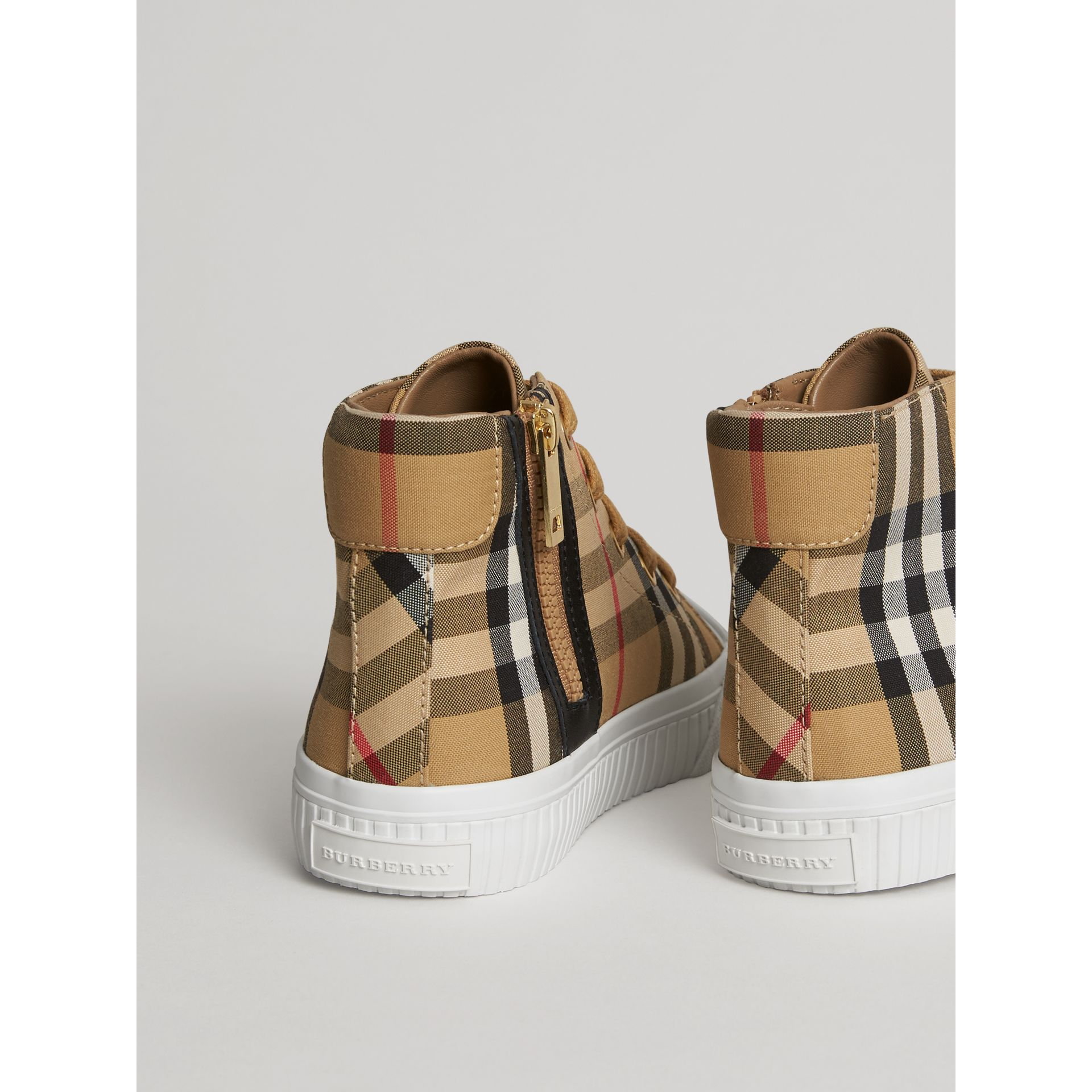 Vintage Check and Leather High-top Sneakers in Antique Yellow/optic White | Burberry Canada - gallery image 2