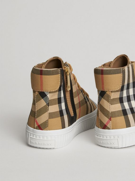 Vintage Check and Leather High-top Sneakers in Antique Yellow/optic White | Burberry Canada - cell image 2