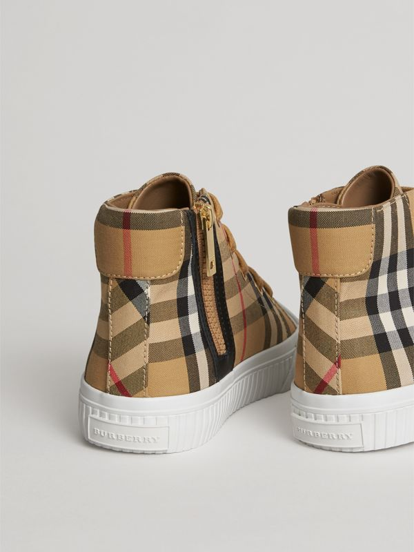 Vintage Check and Leather High-top Sneakers in Antique Yellow/optic White | Burberry Australia - cell image 2
