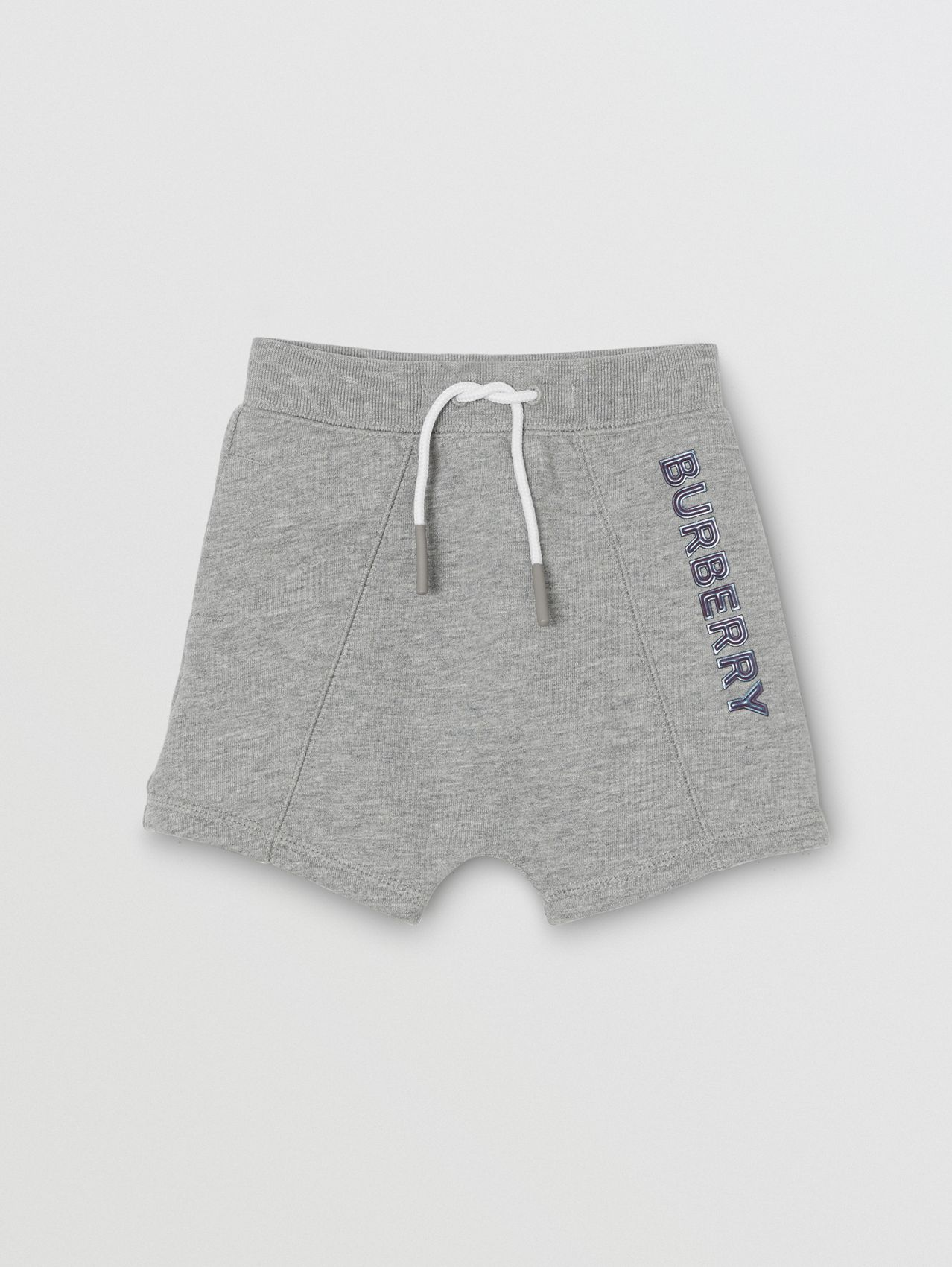 Logo Detail Cotton Drawcord Shorts in Grey Melange