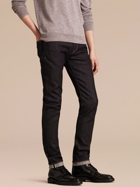 Jeans aderenti in denim cimosa stretch giapponese