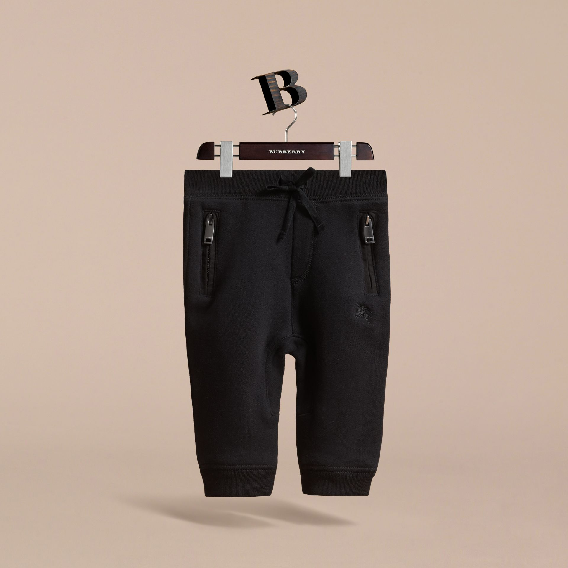 Drawcord Cotton Sweatpants in Black | Burberry - gallery image 3