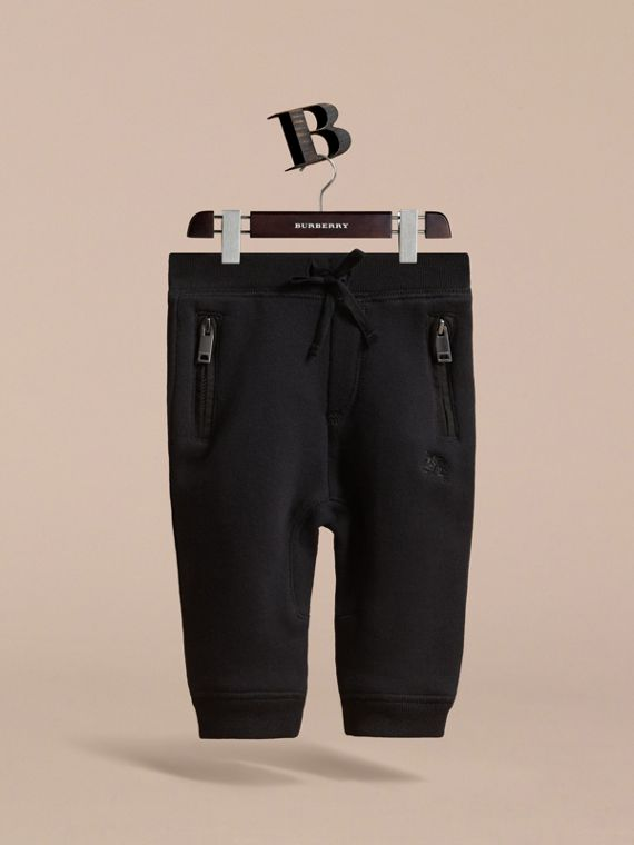 Drawcord Cotton Sweatpants in Black | Burberry - cell image 2
