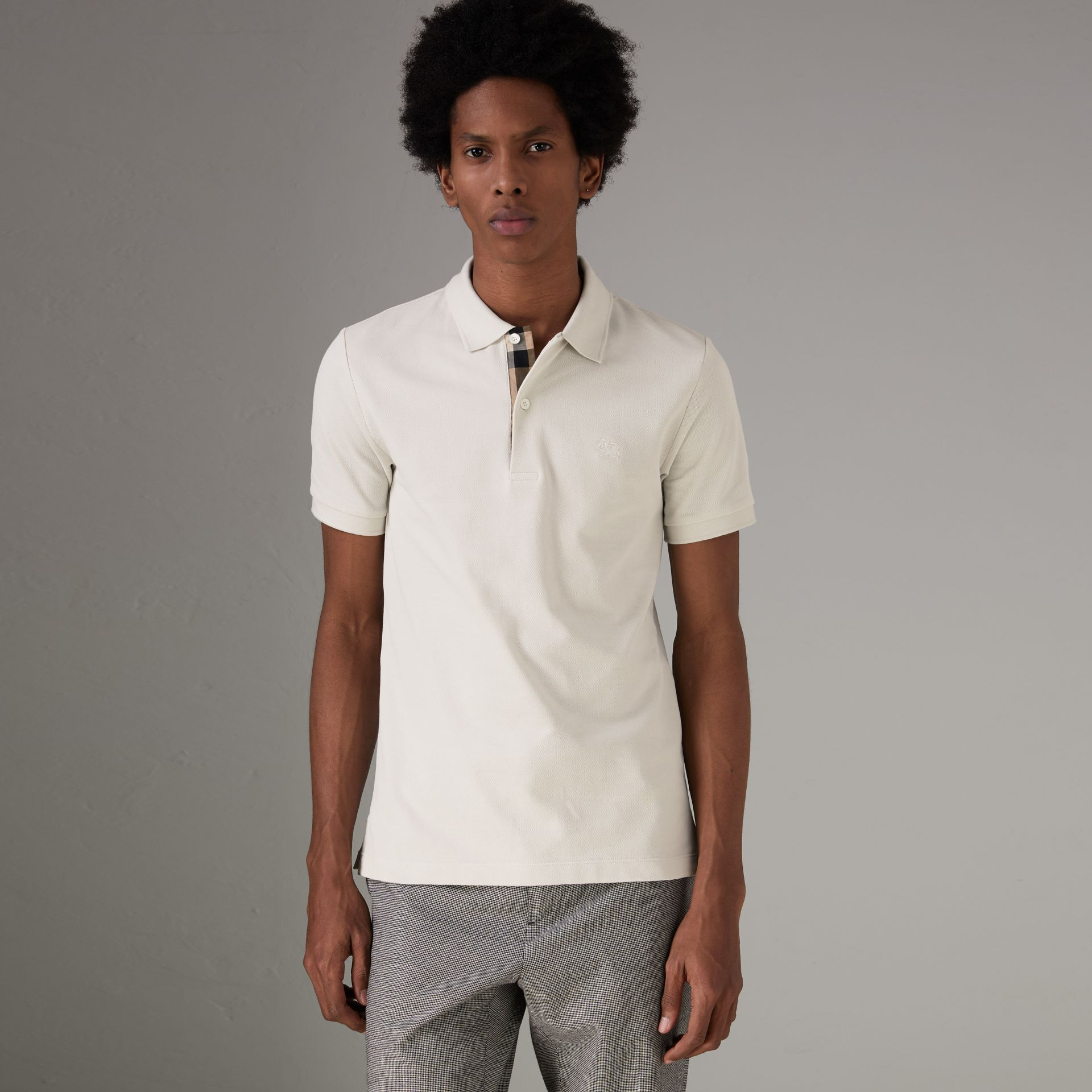 Check Placket Cotton Piqué Polo Shirt in Light Stone - Men | Burberry - gallery image 0