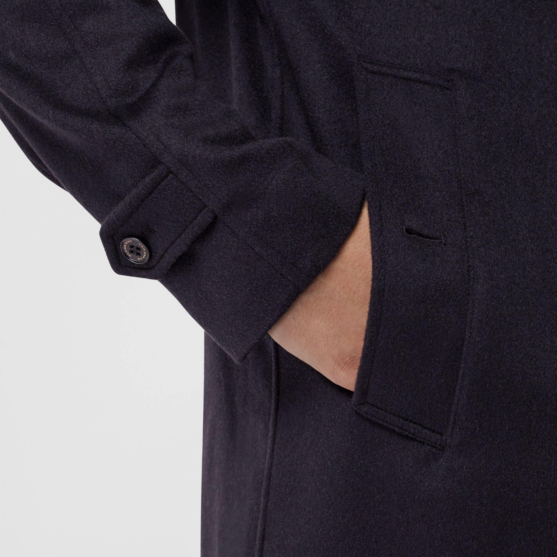 Cashmere Car Coat in Navy - Men | Burberry Australia - gallery image 1