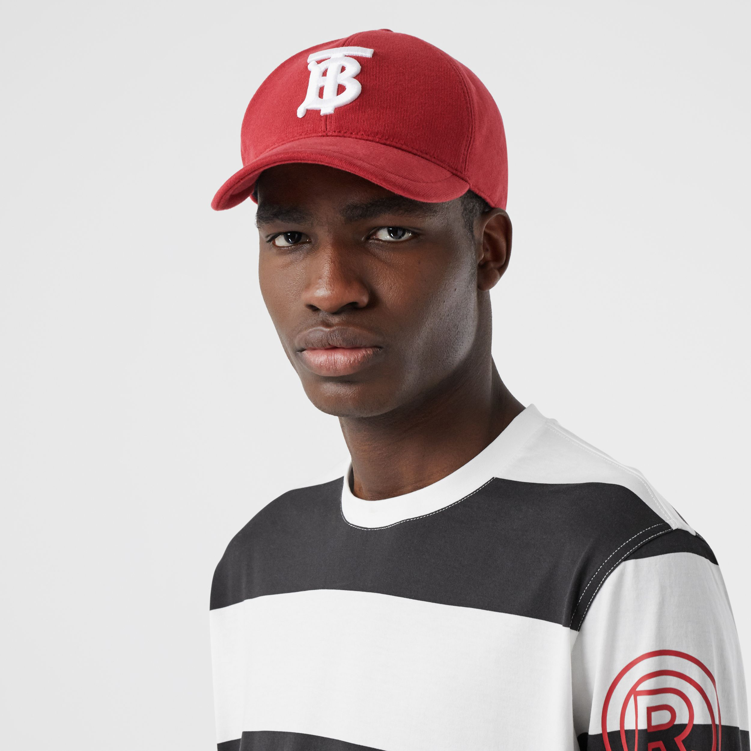 Monogram Motif Jersey Baseball Cap in Dark Carmine | Burberry - 4
