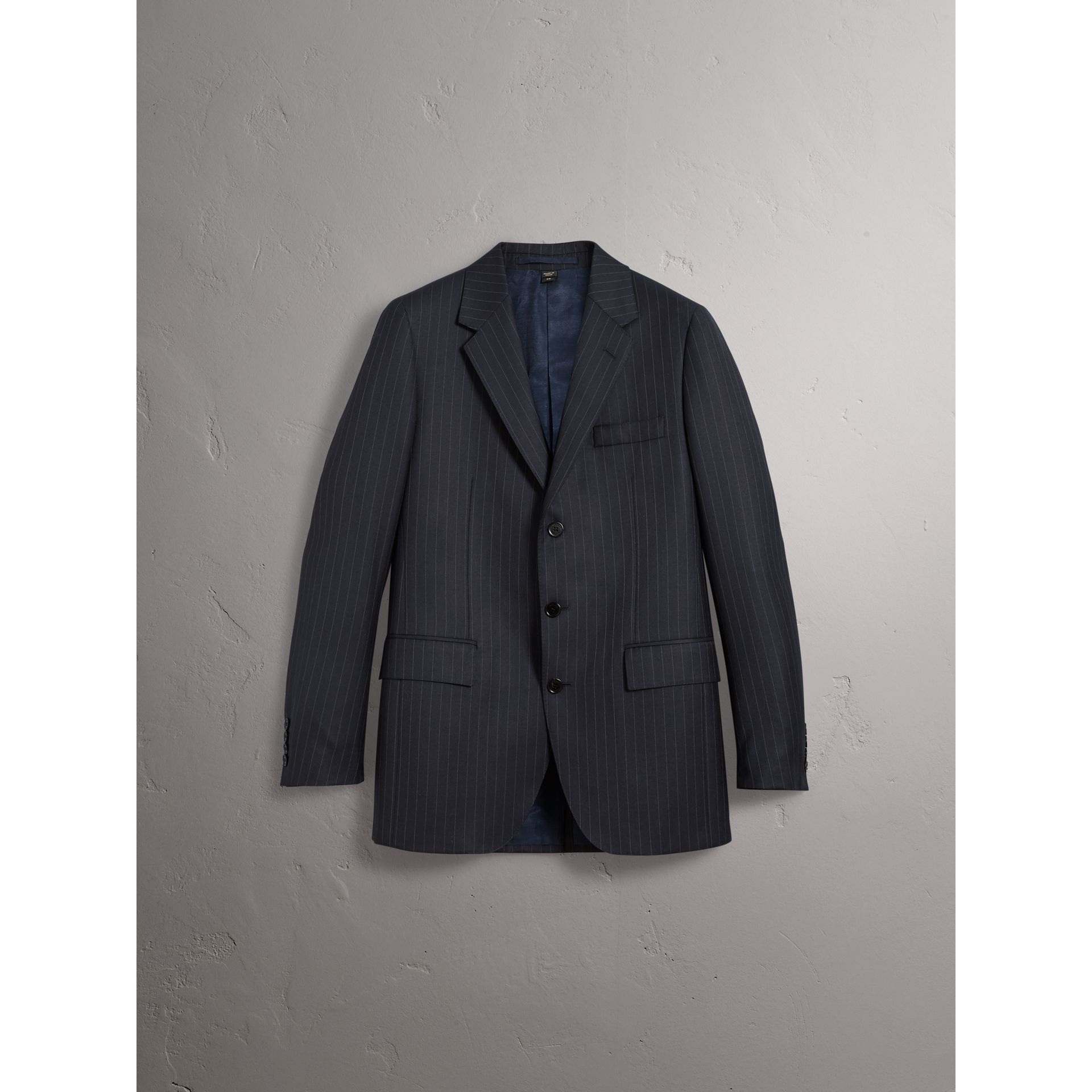 Pinstripe Wool Tailored Jacket in Navy - Men | Burberry Australia - gallery image 4