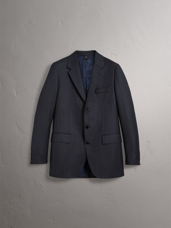 Pinstripe Wool Tailored Jacket in Navy - Men | Burberry Australia - cell image 3