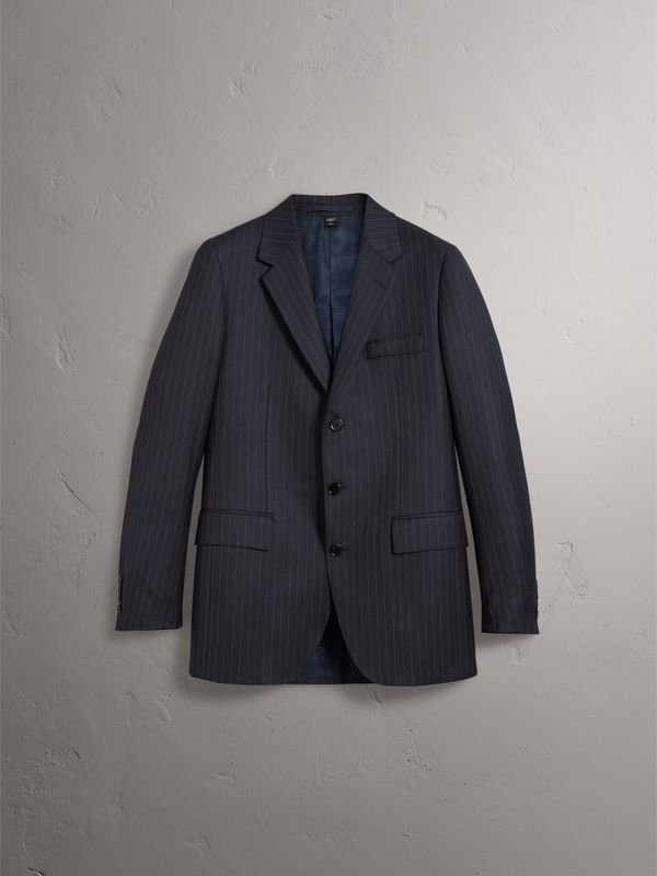 Pinstripe Wool Tailored Jacket in Navy - Men | Burberry United Kingdom - cell image 3