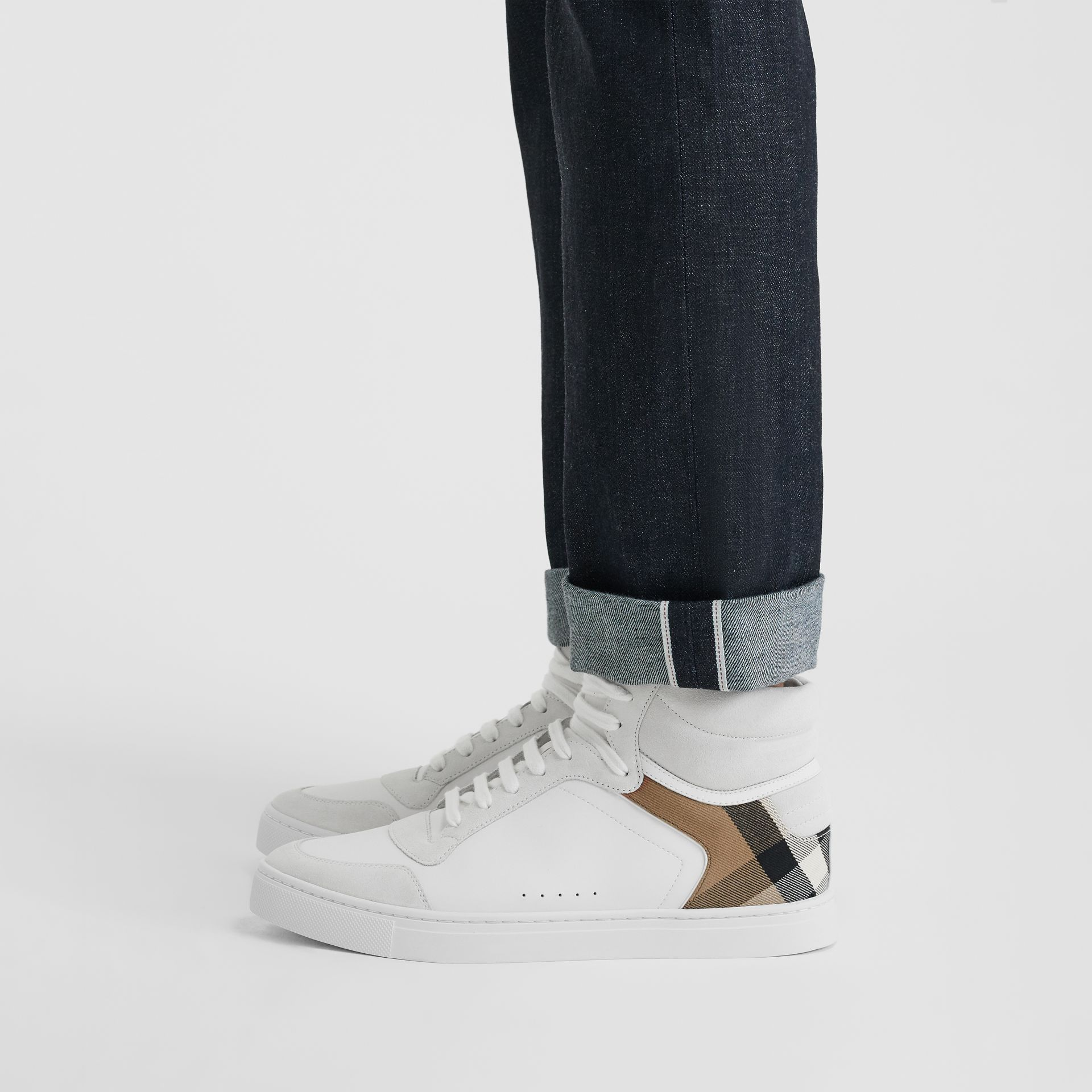 Leather and House Check High-top Sneakers in Optic White - Men | Burberry Hong Kong - gallery image 2