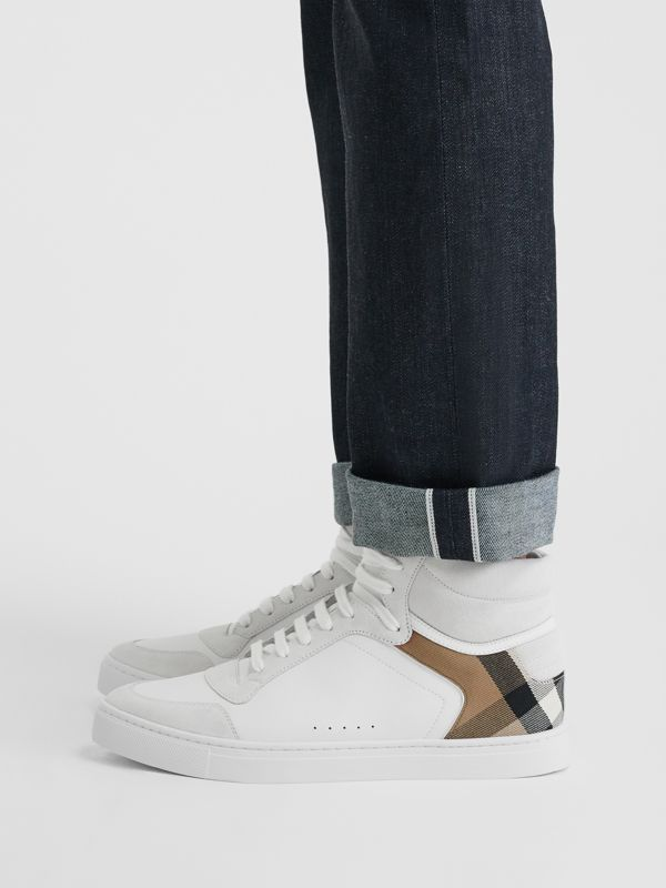 Leather and House Check High-top Sneakers in Optic White - Men | Burberry - cell image 2
