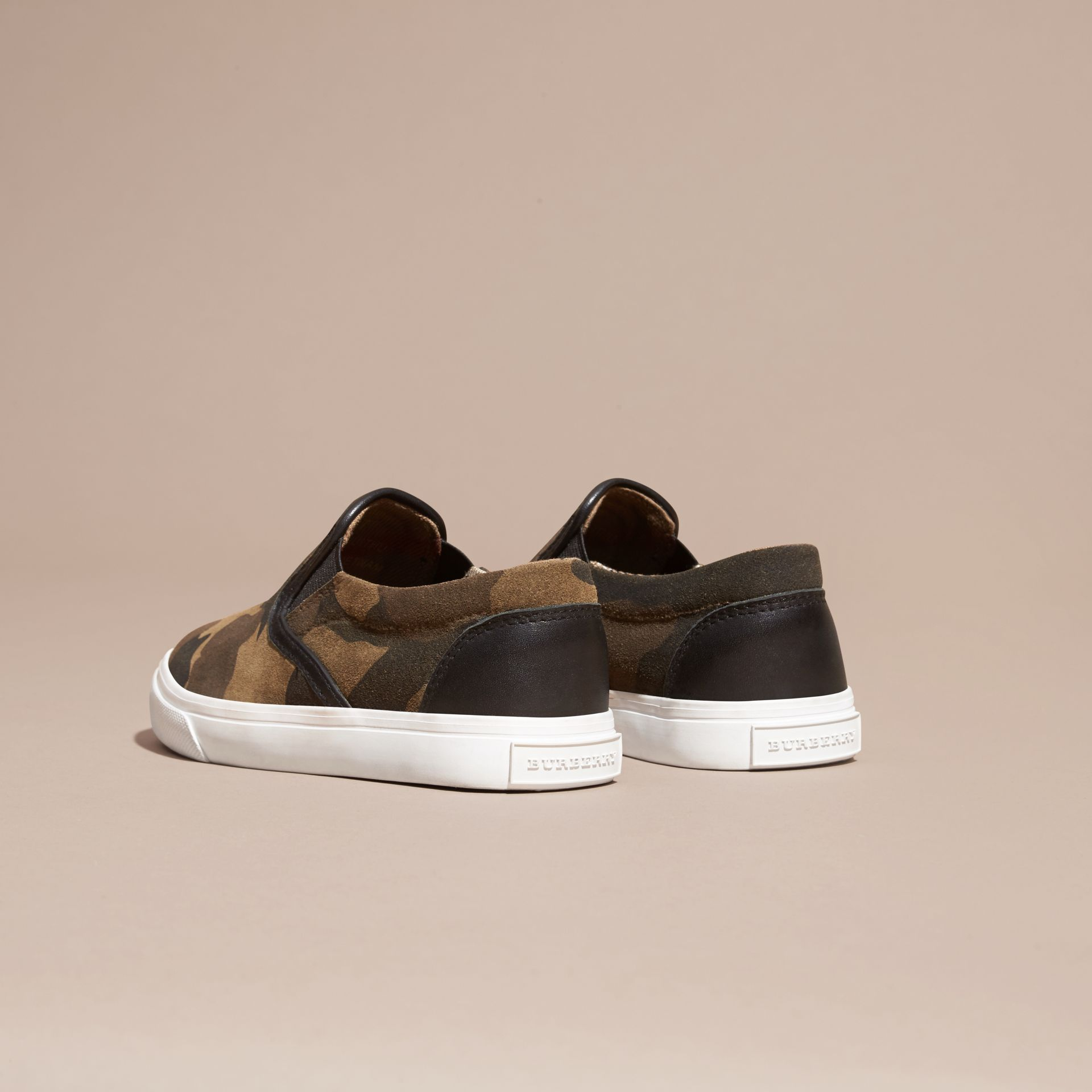 Dark green ochre Camouflage Print Suede Slip-on Trainers - gallery image 4