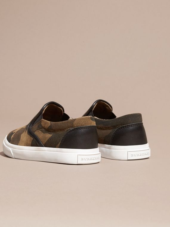 Dark green ochre Camouflage Print Suede Slip-on Trainers - cell image 3