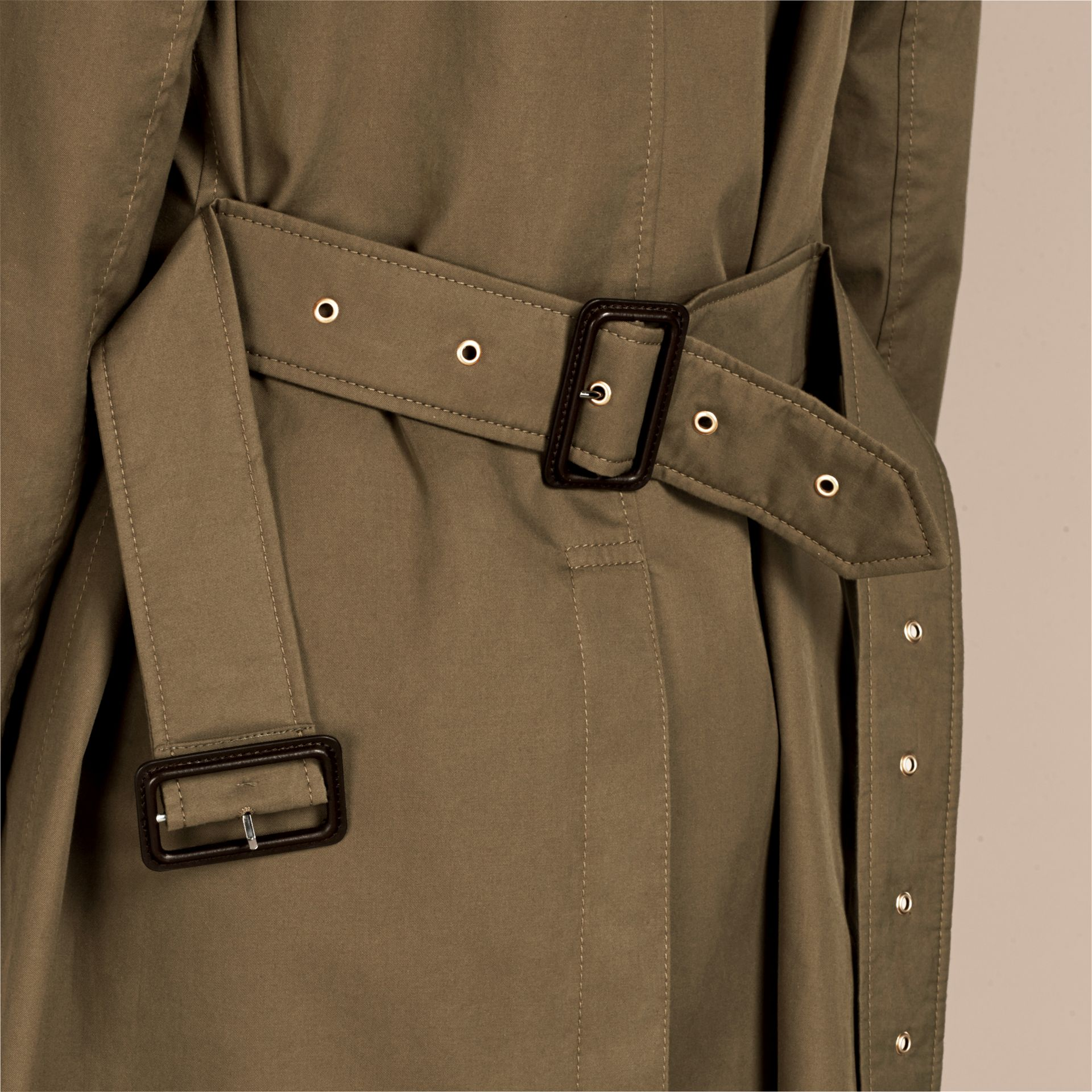 Military olive Cotton Gabardine Trench Coat - gallery image 4