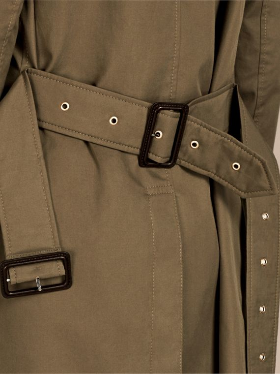 Military olive Cotton Gabardine Trench Coat - cell image 3
