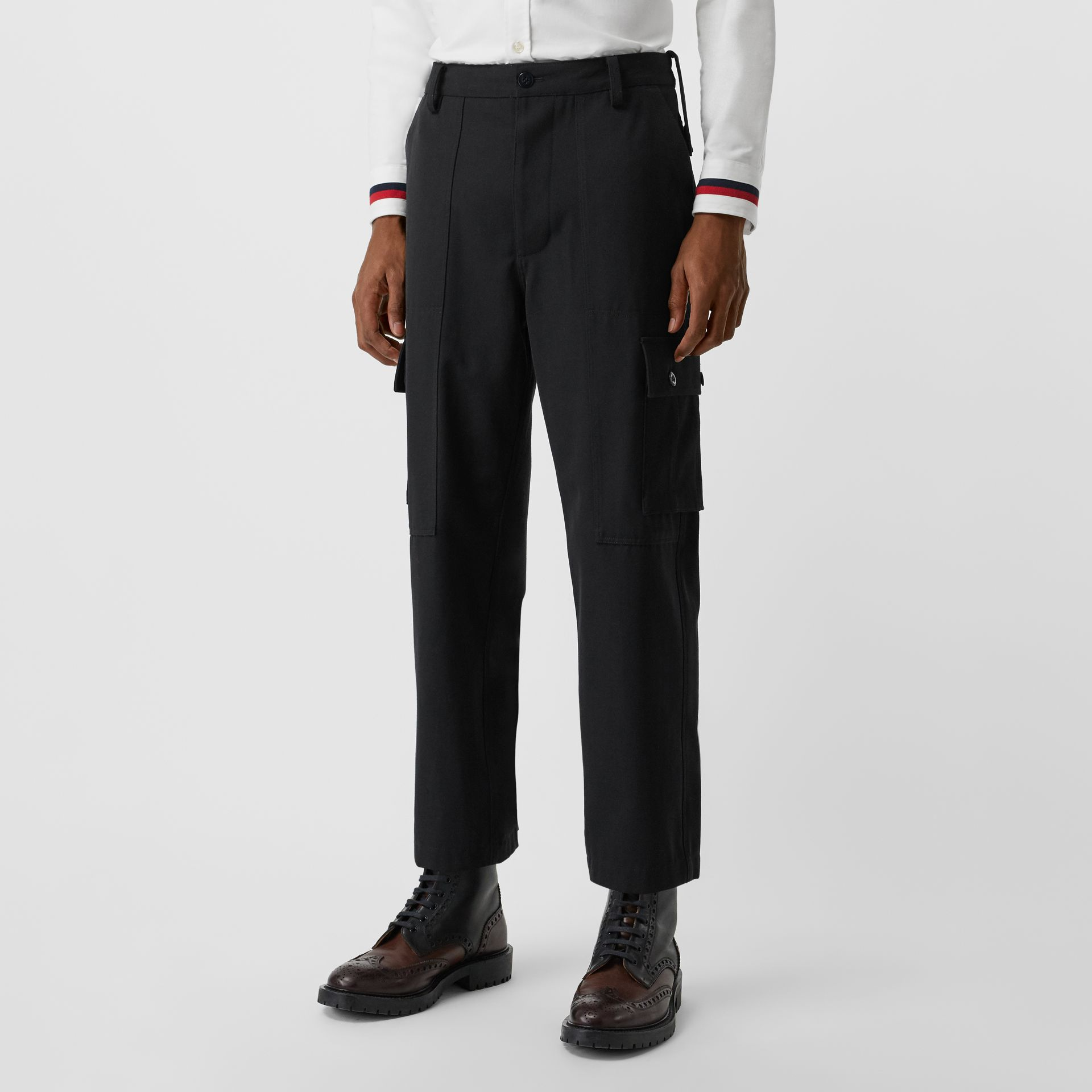 Cotton Wool Blend Cropped Cargo Trousers in Black - Men | Burberry - gallery image 4