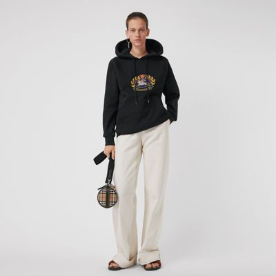 Embroidered Archive Logo Oversized Hoodie by Burberry