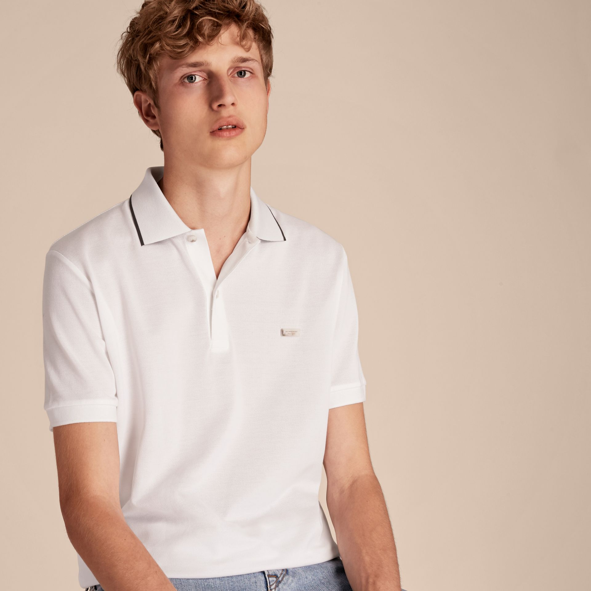 Tipped Collar Cotton Piqué Polo Shirt White - gallery image 6