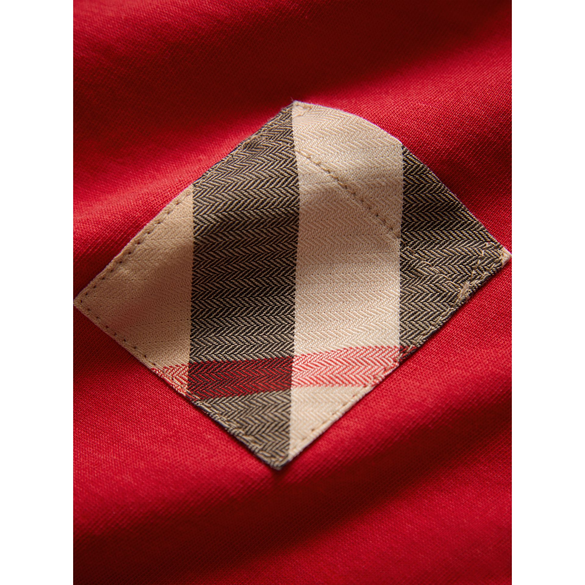 Long-sleeve Check Pocket Cotton Top in Military Red | Burberry - gallery image 1