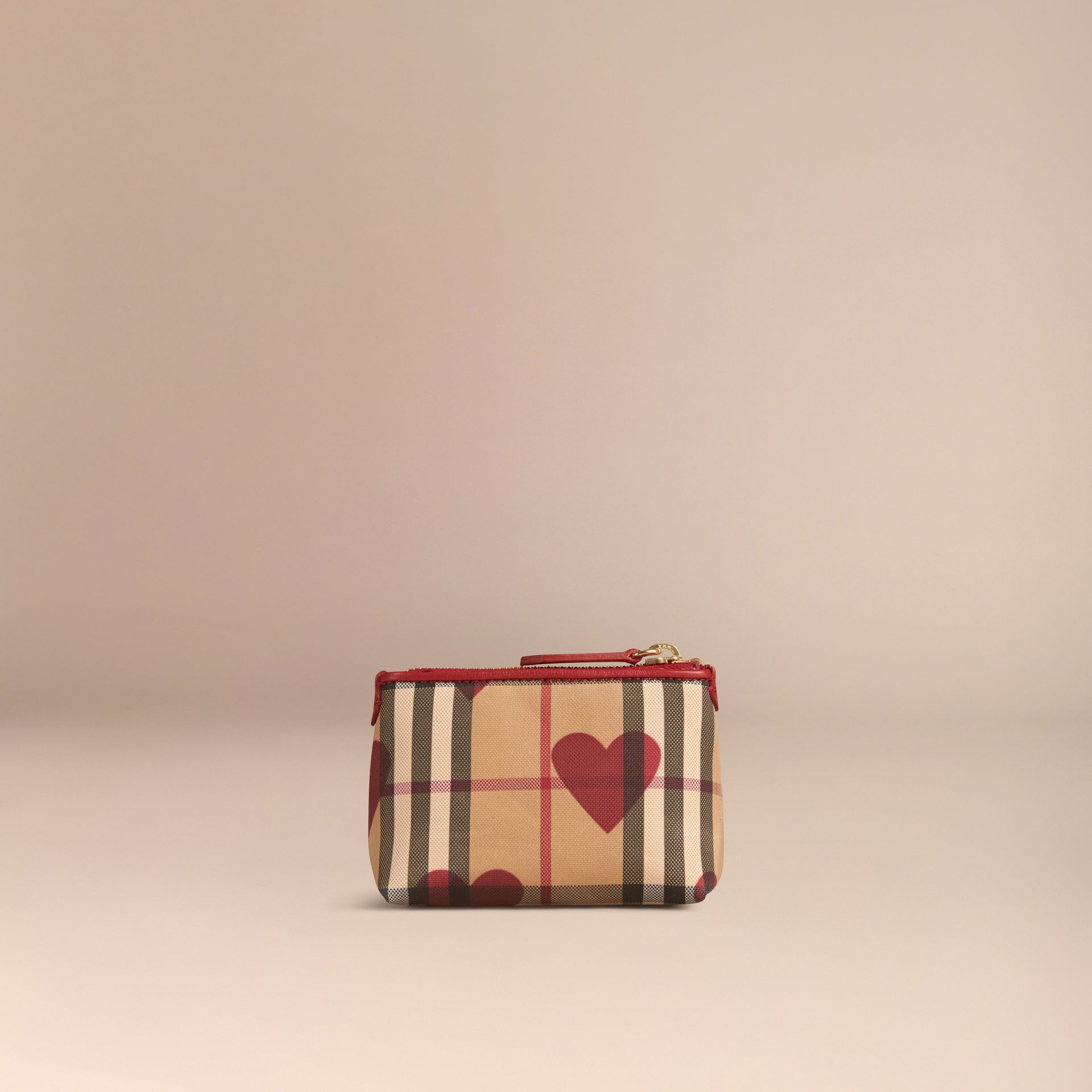 Parade red Heart Print Horseferry Check Coin Case Parade Red - gallery image 3
