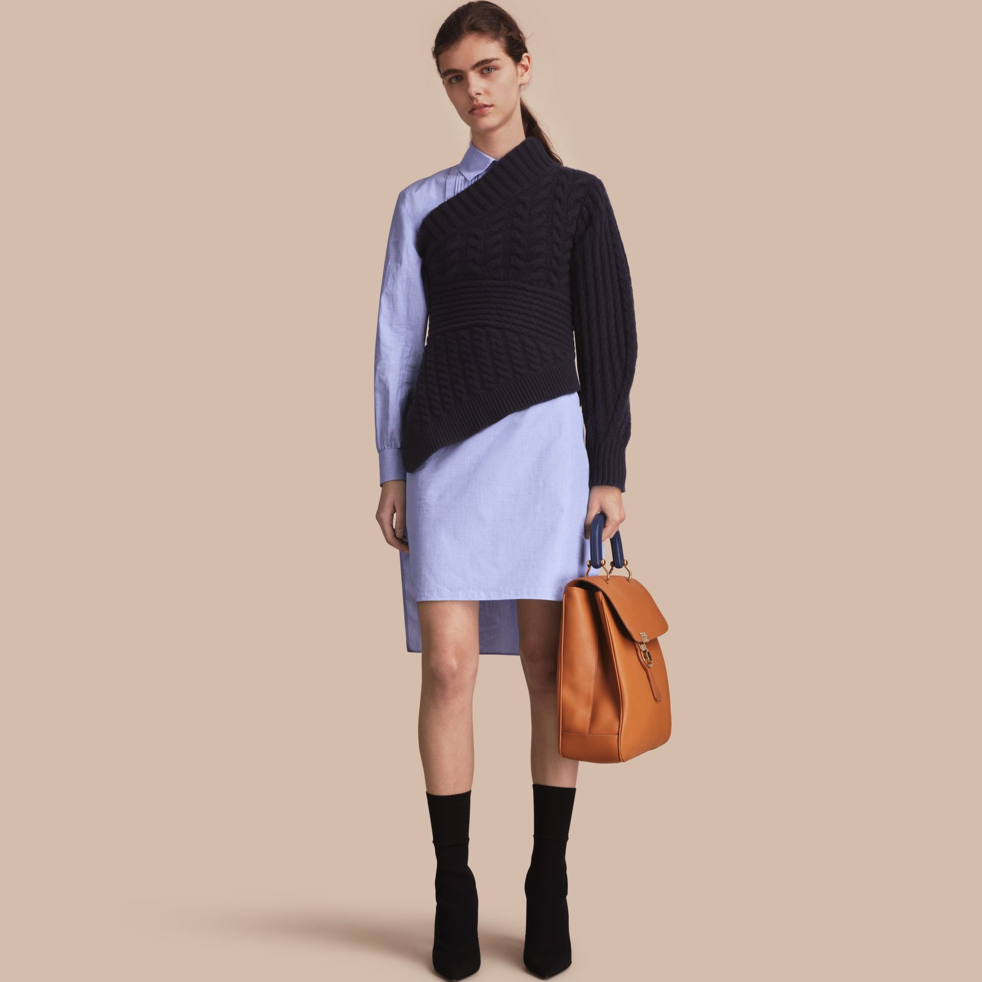 One-shoulder Cable Knit Cashmere Sweater in Navy - Women | Burberry - gallery image 1
