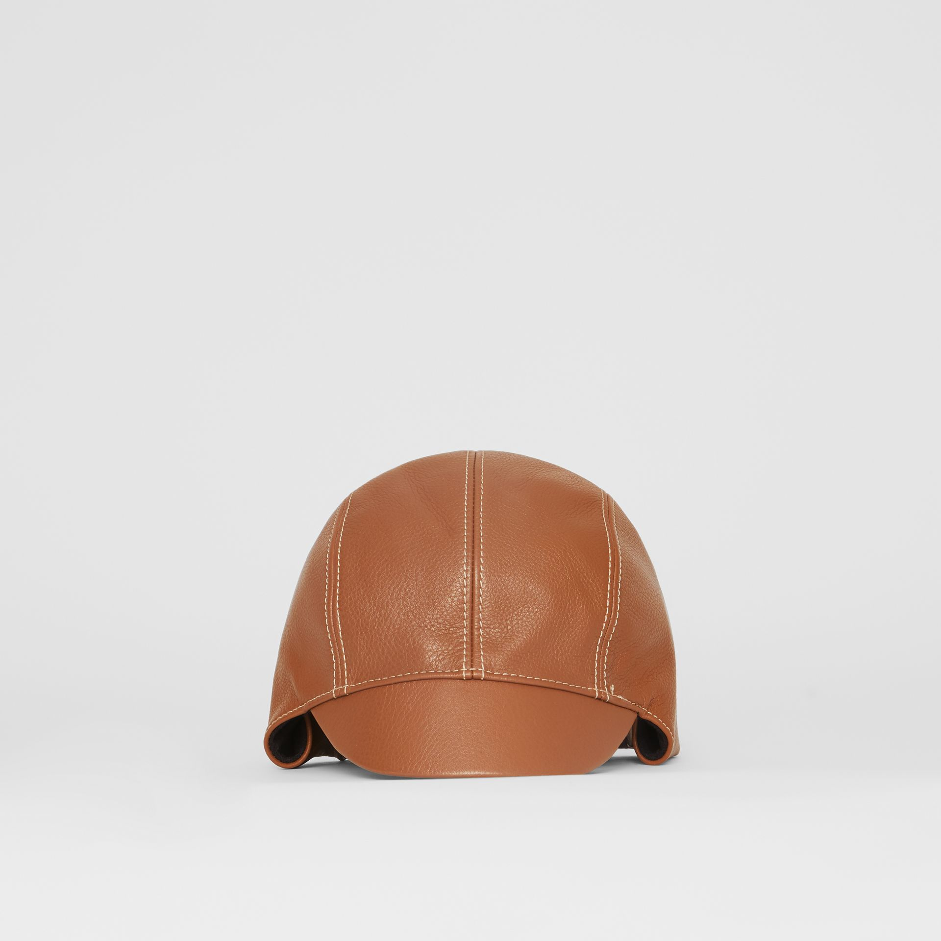 Leather Pilot Cap in Toffee | Burberry - gallery image 5