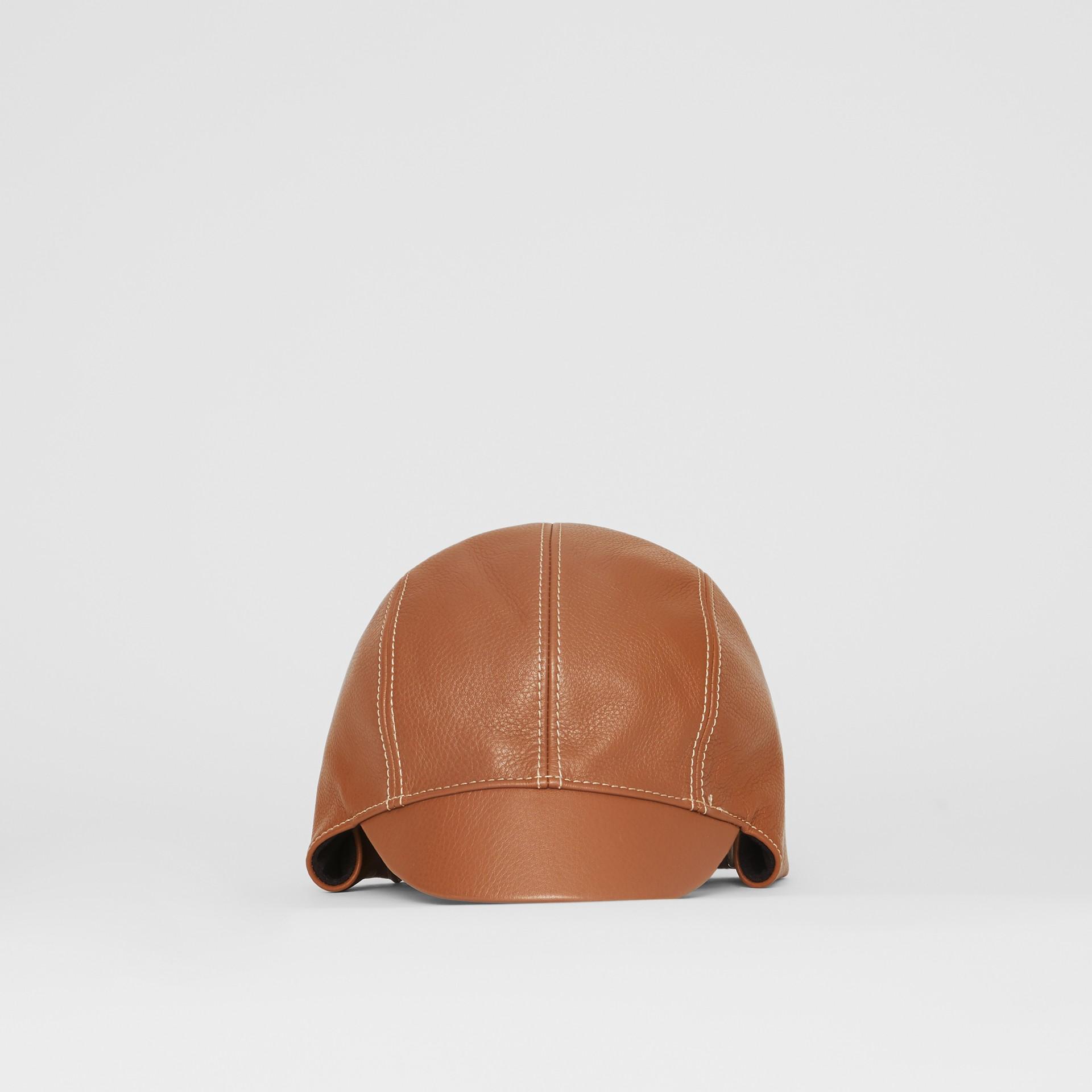 Chapéu de piloto de couro (Toffee) | Burberry - galeria de imagens 5