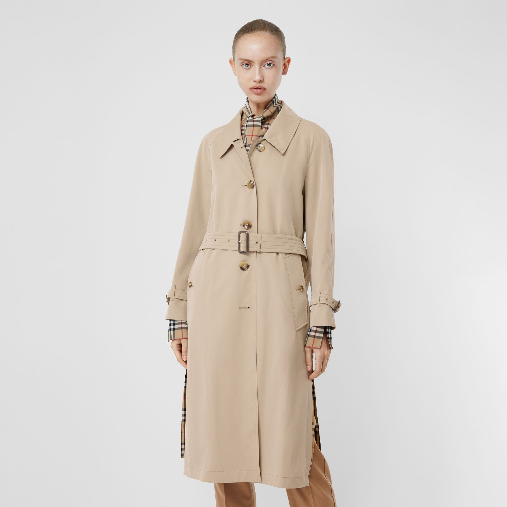 Side-slit Tropical Gabardine Trench Coat in Light Taupe - Women | Burberry United Kingdom - gallery image 7