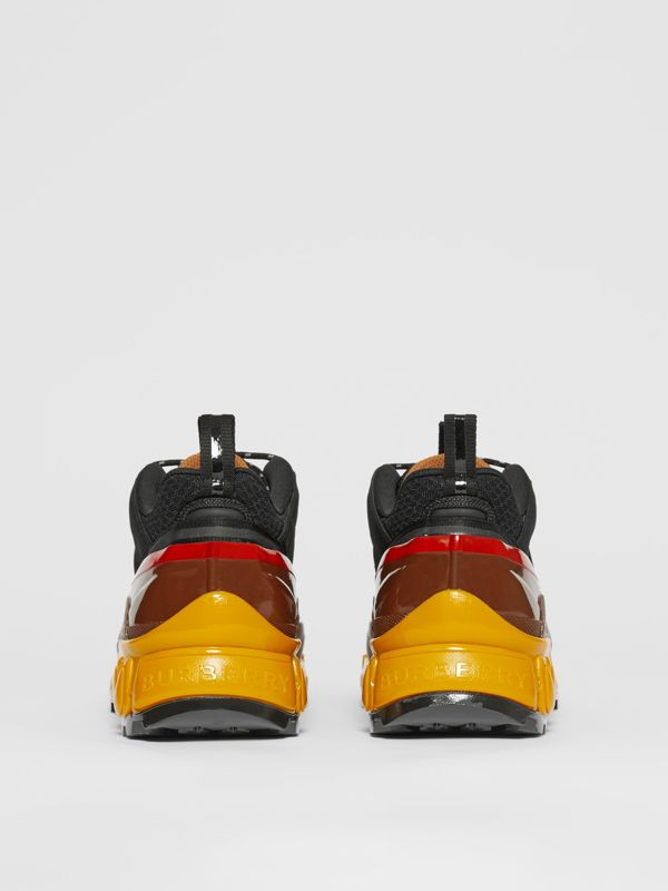 Mesh, Nylon and Nubuck Arthur Sneakers in Black/yellow   Burberry - cell image 3