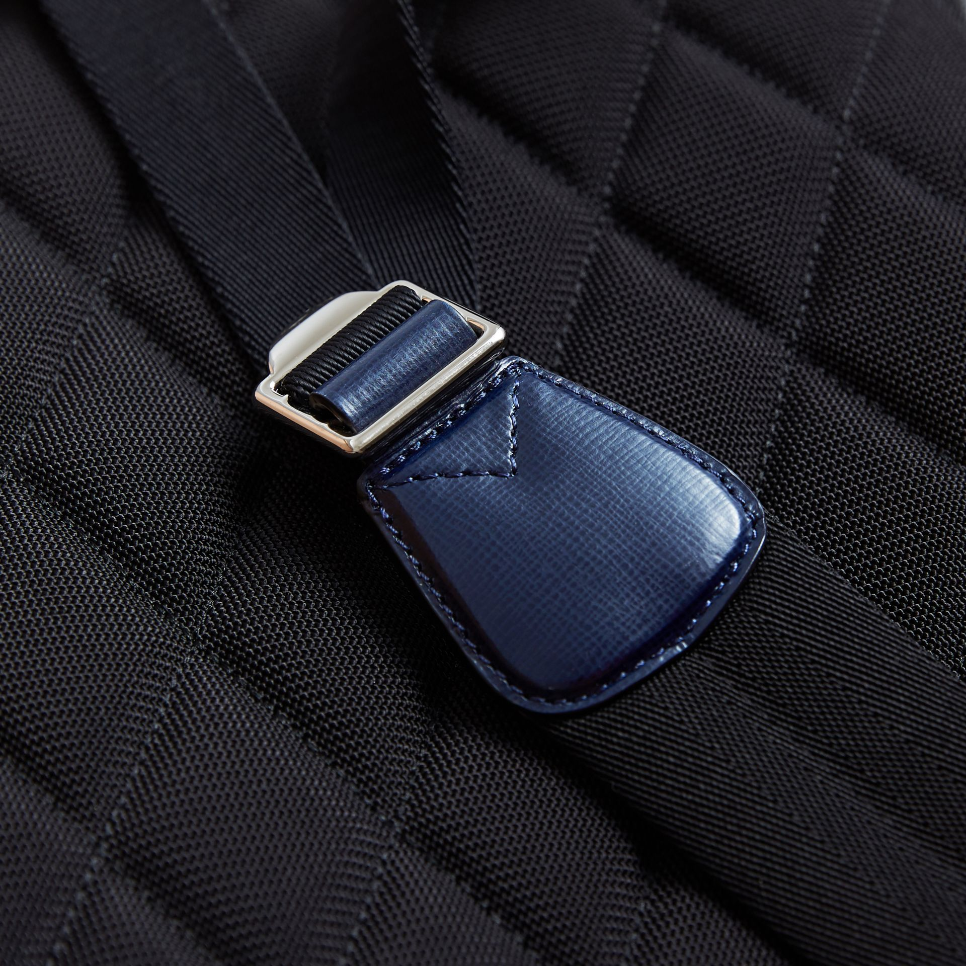 Leather Trim London Check Backpack in Bright Lapis - Men | Burberry - gallery image 6