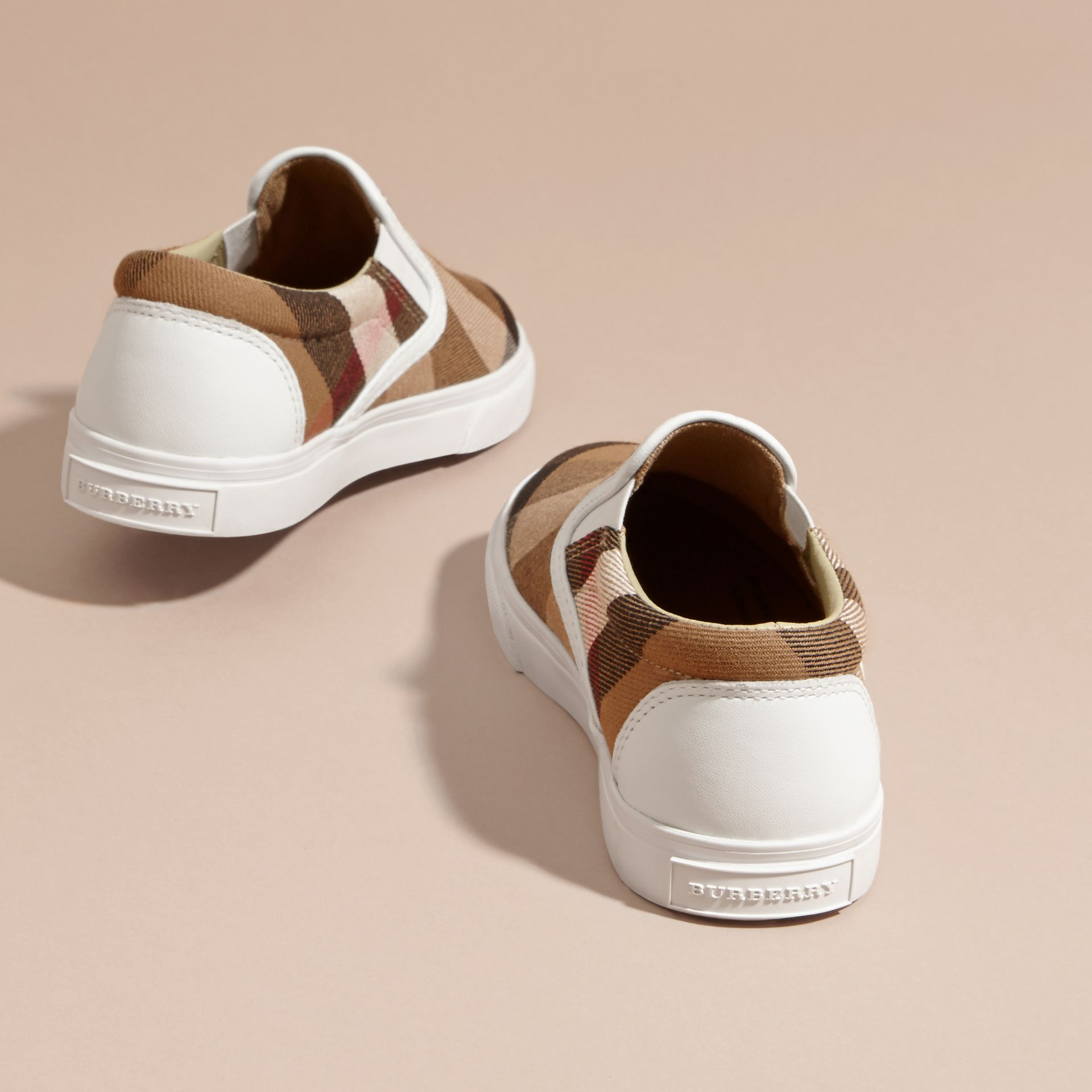 House Check Cotton Slip-On Trainers in White | Burberry United States - gallery image 4