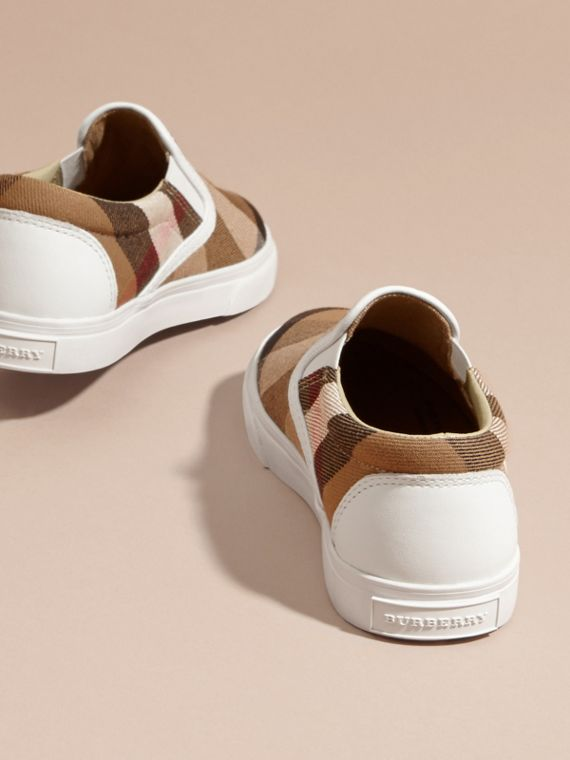 House Check Cotton Slip-On Trainers in White | Burberry United States - cell image 3