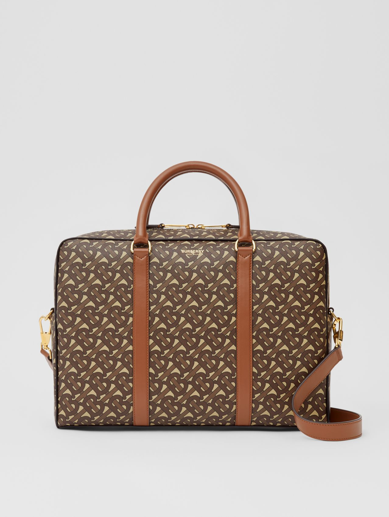 Monogram Print E-canvas and Leather Briefcase (Bridle Brown)
