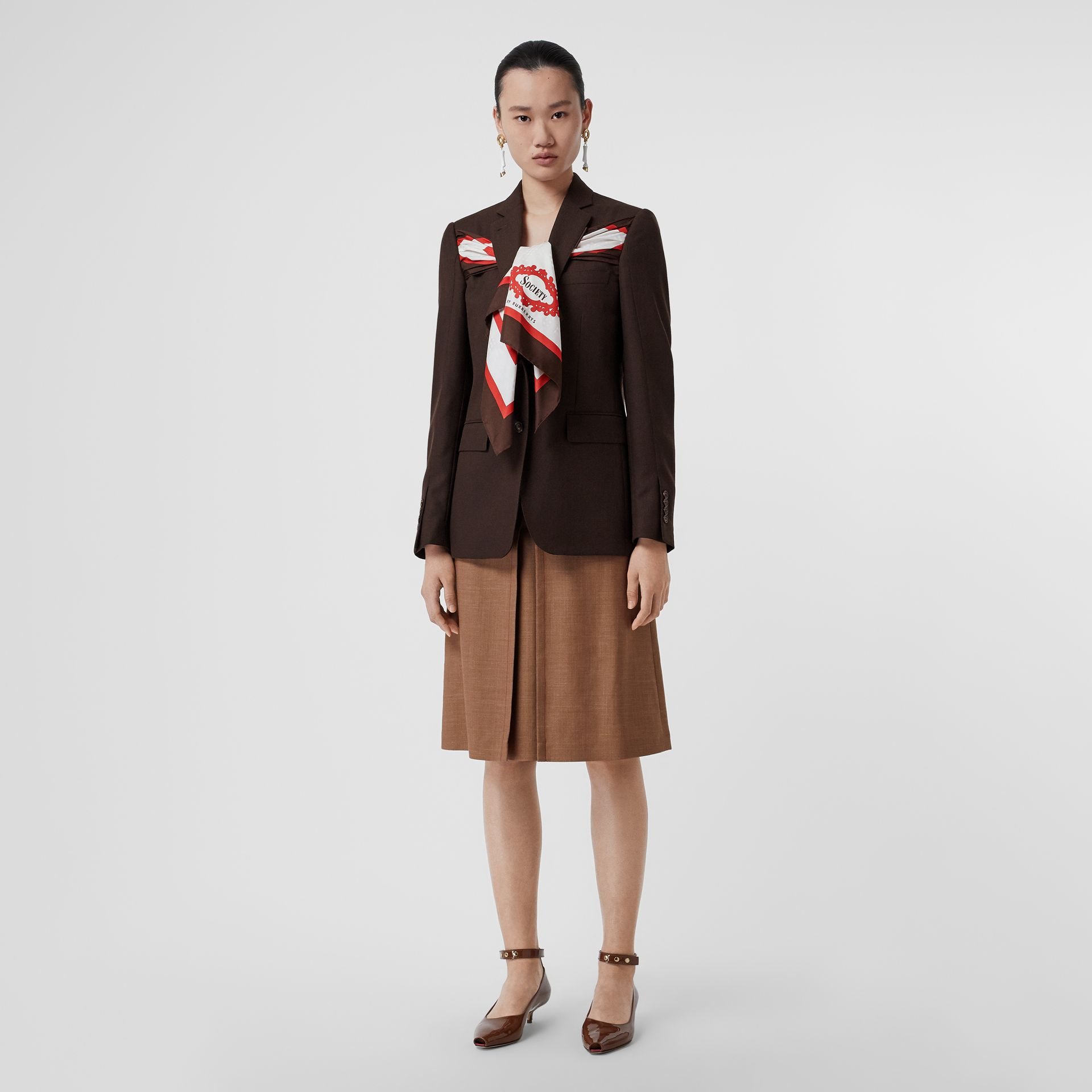 Silk Scarf Detail Wool Tailored Jacket in Coffee - Women | Burberry Singapore - gallery image 0