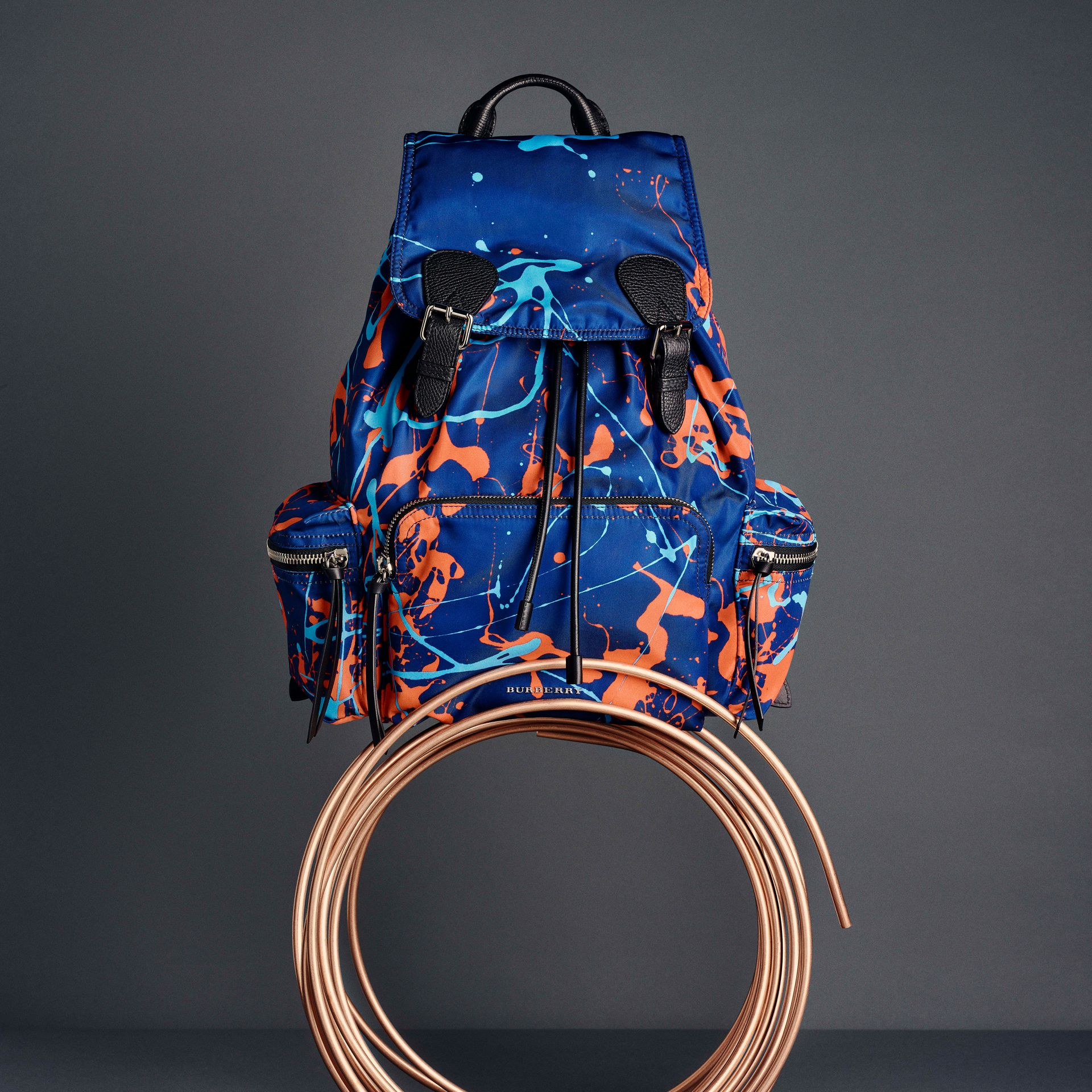 The Large Rucksack in Splash Print in Navy/orange | Burberry - gallery image 7