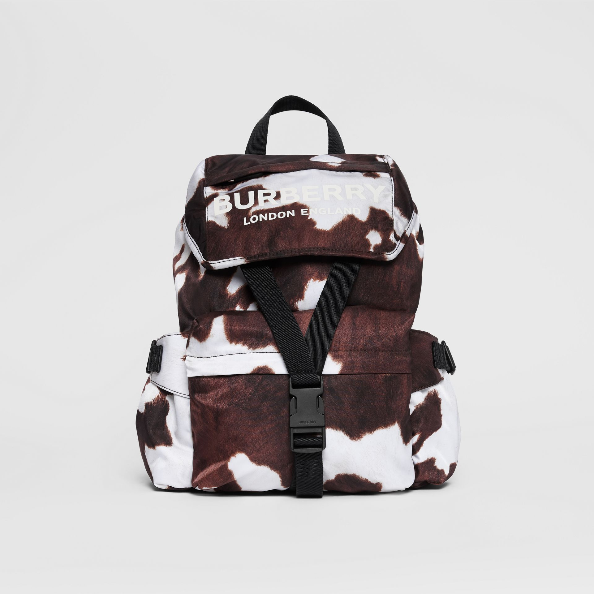 Cow Print Nylon Backpack in Mahogany - Women | Burberry United Kingdom - gallery image 0